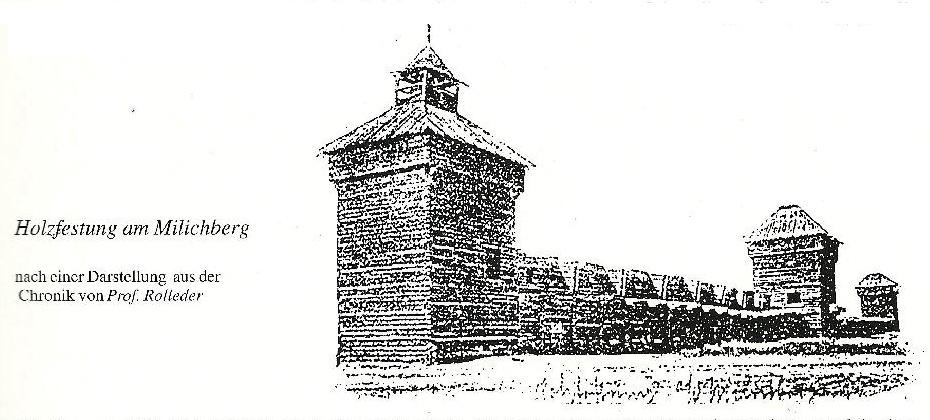 Historická podoba hradu Milíkov podle Prof. Antona Rolledera - autora kroniky Oderska